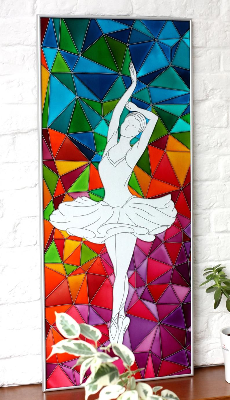 Ballerinas Contemporary Painting on Glass-Original Dancer Painting-Stain Glass Panel-Polygonal Art Dancing Girl-Polygon Dancer Picture