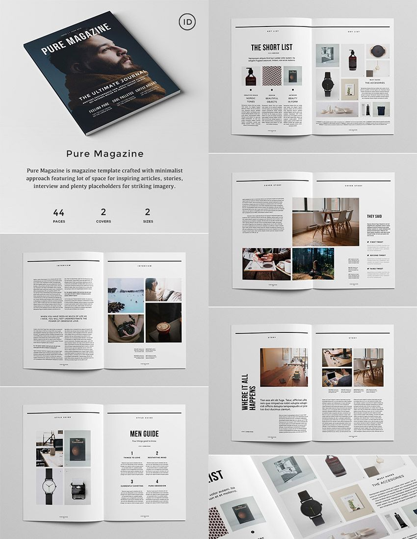 Pure Magazine - InDesign Template | Graphics | Pinterest | Layout ...