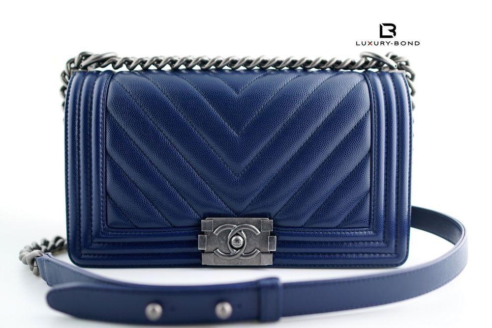 611a95117 17B NWT CHANEL Le Boy CHEVRON Old Medium Caviar Flap Bag BLUE w ruthenium  hrdwr #CHANEL #LeBoy