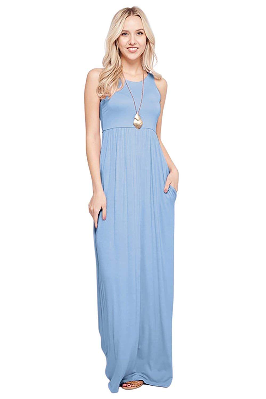 2a4c22e29f Sportoli Maxi Dresses for Women Solid Lightweight Long Racerback Sleeveless  W/Pocket at Amazon Women's Clothing store: