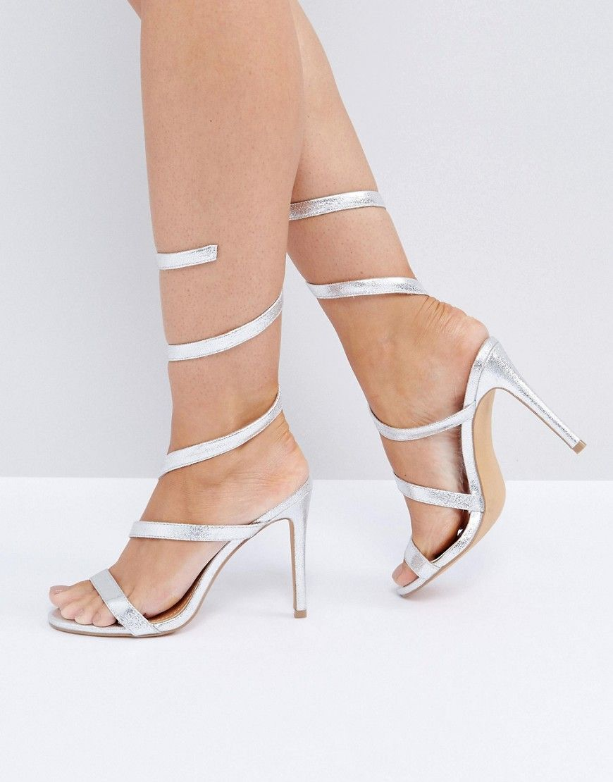 5fc0371424 Public Desire Fire Silver Spiral Heeled Sandals - Silver | prom 2k19 ...