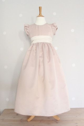 Durky Rose Duchess Satin Dress With Small Puff Sleeve Flower Girl