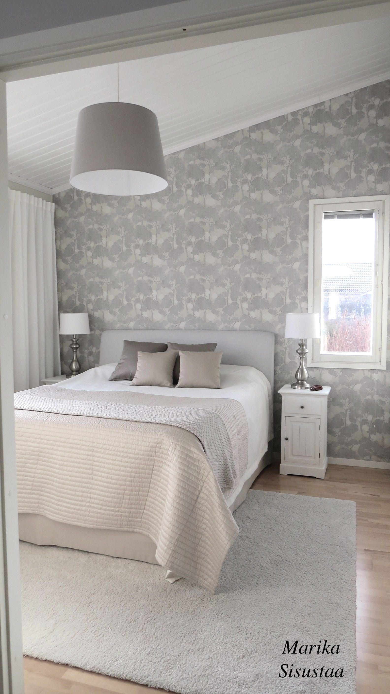 Romanttinen makuuhuone beige sisustus vaalea makuuhuone