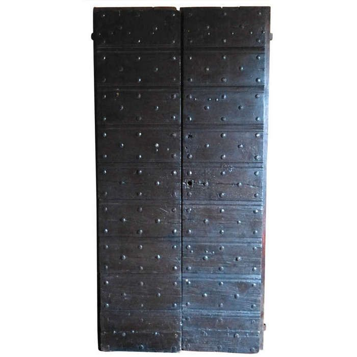 Wonderful A Good And Unusual Set Of Italian 18th Century Rustic Chestnut Doors With  Metal Studs.