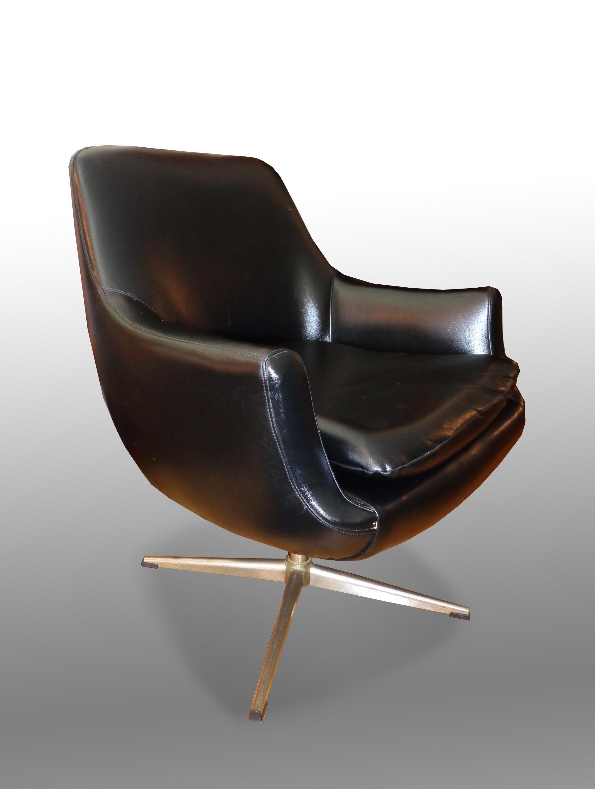 Mid Century Modern Overman A/B Swedish Black Pod Lounge Chair (sold)