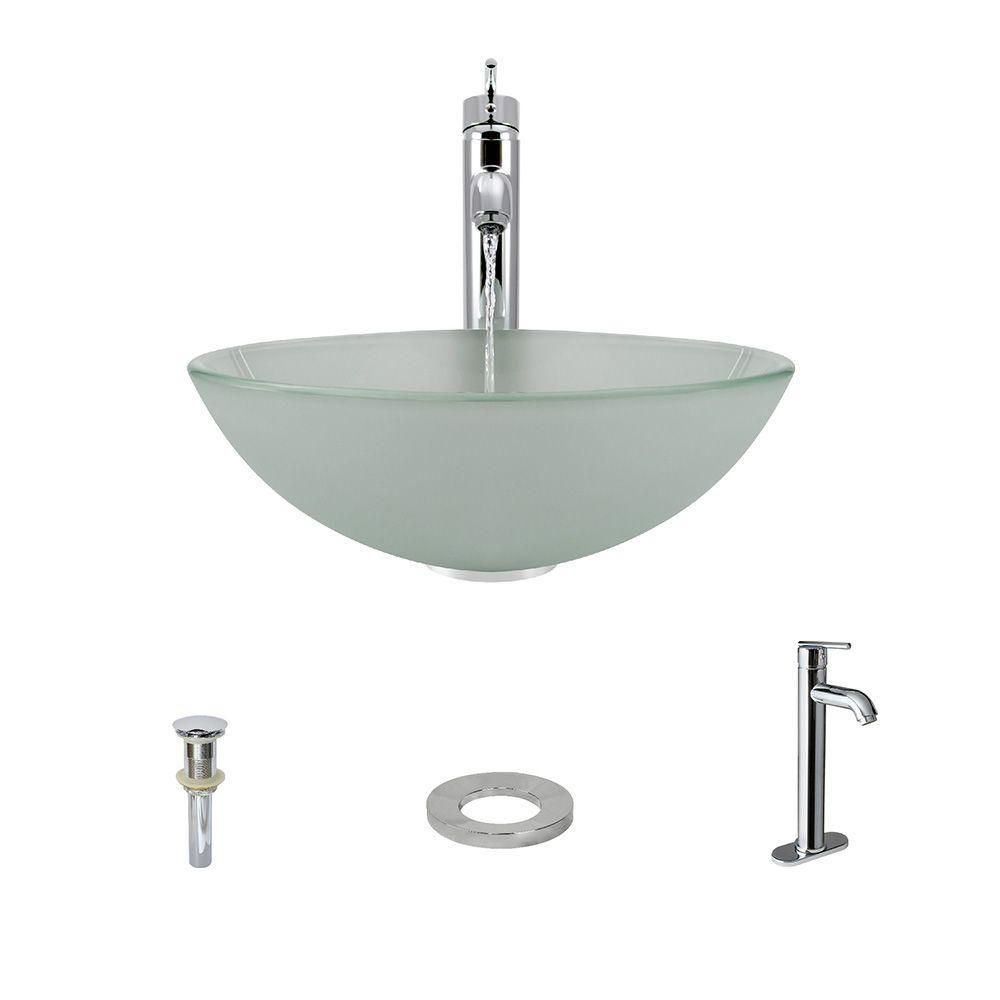 MR Direct Glass Vessel Sink in Frost with 718 Faucet and Pop-Up Drain in Chrome