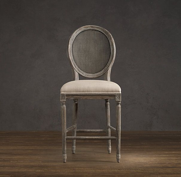Vintage French Cane Back Round Upholstered Counter Stool | Bar u0026 Counter Stools | Restoration Hardware : restoration hardware kitchen stools - islam-shia.org