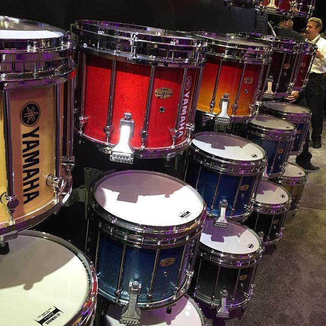 Awesome wall of snare drums for Marching Band. Seen at 2016 NAMM show. #druminstruction #drumlessons #drumline #drumlife #drumfam #drum #drums #drummer #drummers#drumming #practice #percussion #practicepad #marchingband #yamaha #yamahadrums