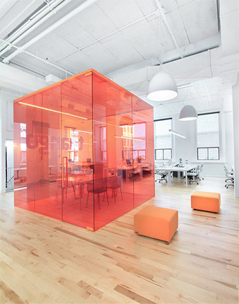 open office design ideas. Red Glass Meeting Room In Open Office Space Design Ideas