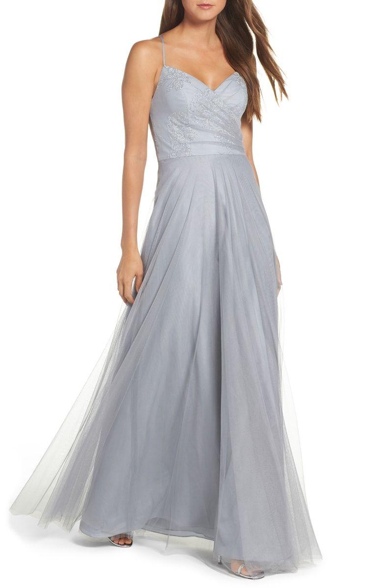 Embellished bodice net halter gown main color pewter