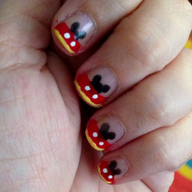 Mickey Mouse French Tip Nails..and they are done on short nails for ...