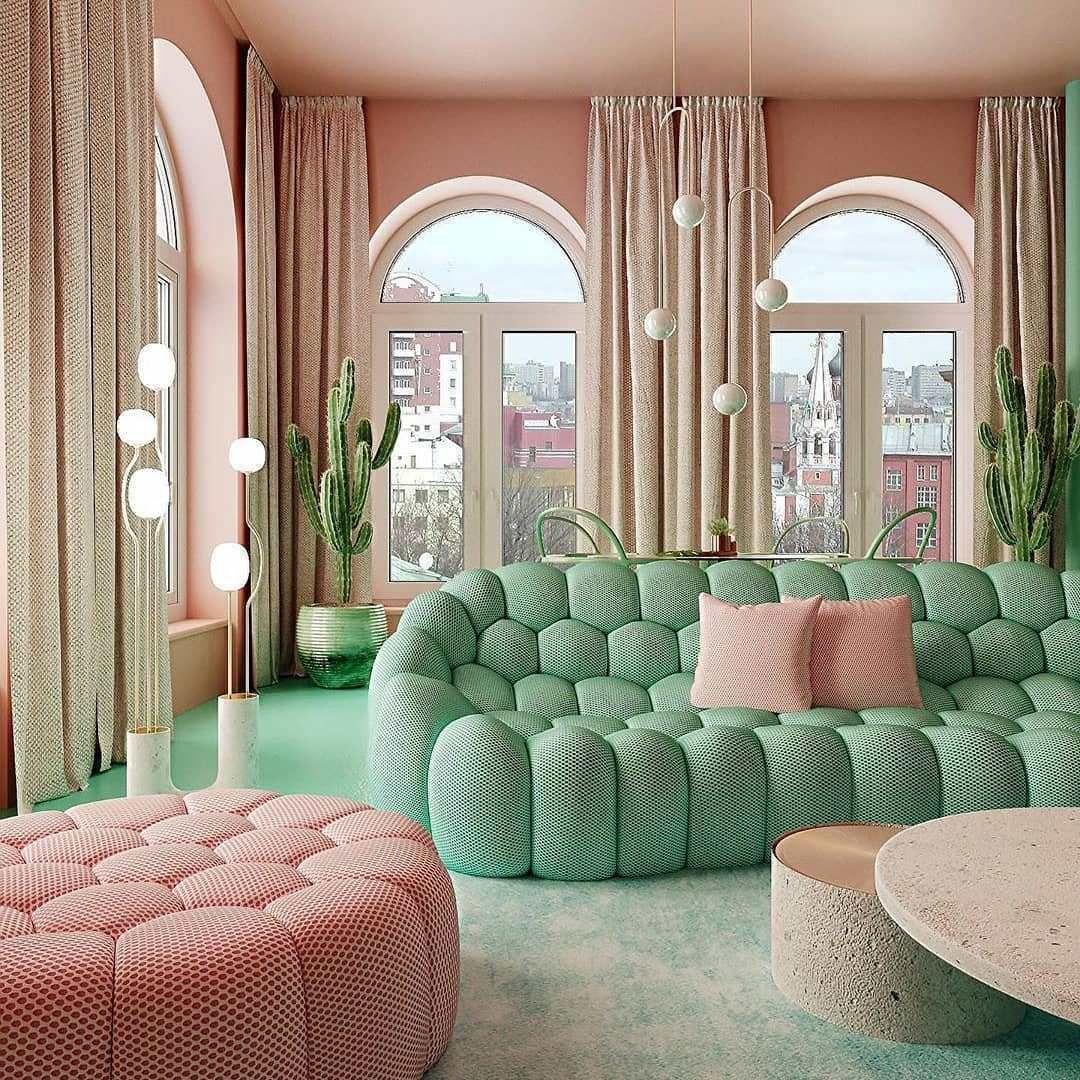 Table Basse Grand Salon déco verte et rose originale à manhattan | intérieur pastel