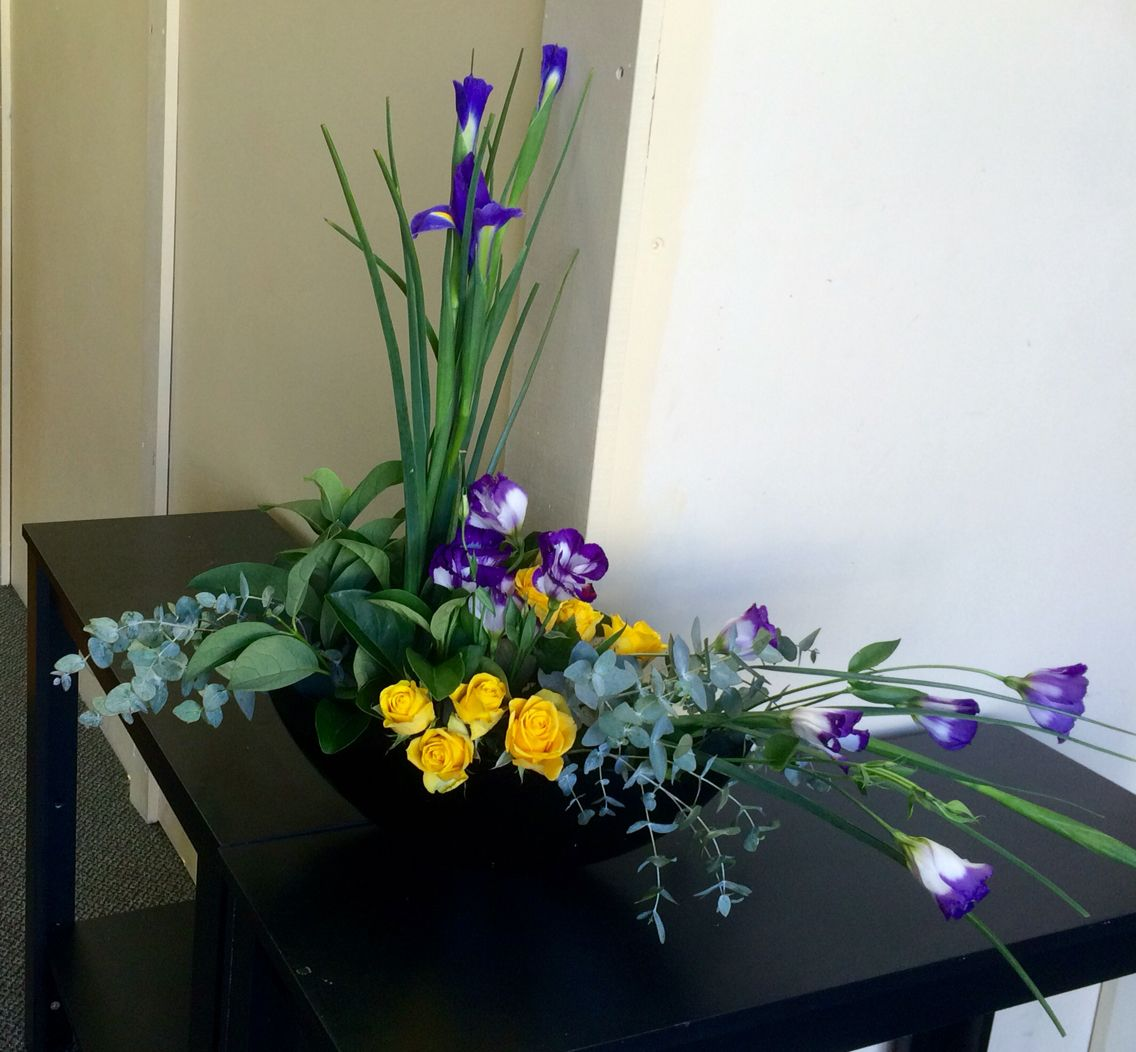 Lisianthus Rose And Iris Arrangement In Yellow Purple Flower