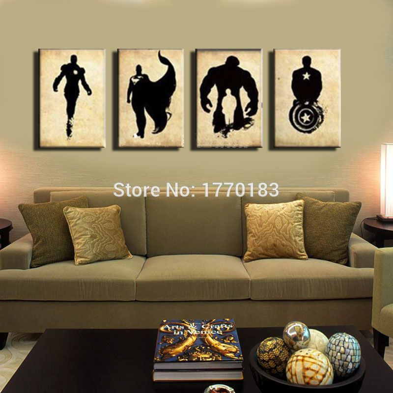 The Avengers Abstract Handpainted Black Canvas Poster