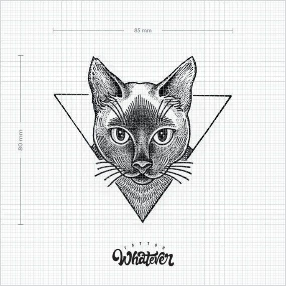 G om trique chat tatouage temporaire disponible en 2 tailles noir et blancs grand tatouage - Tatouage chat noir ...