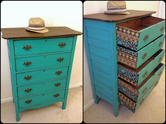 Rustic Turquoise And Wood Antique Dresser With By FurnitureAlchemy