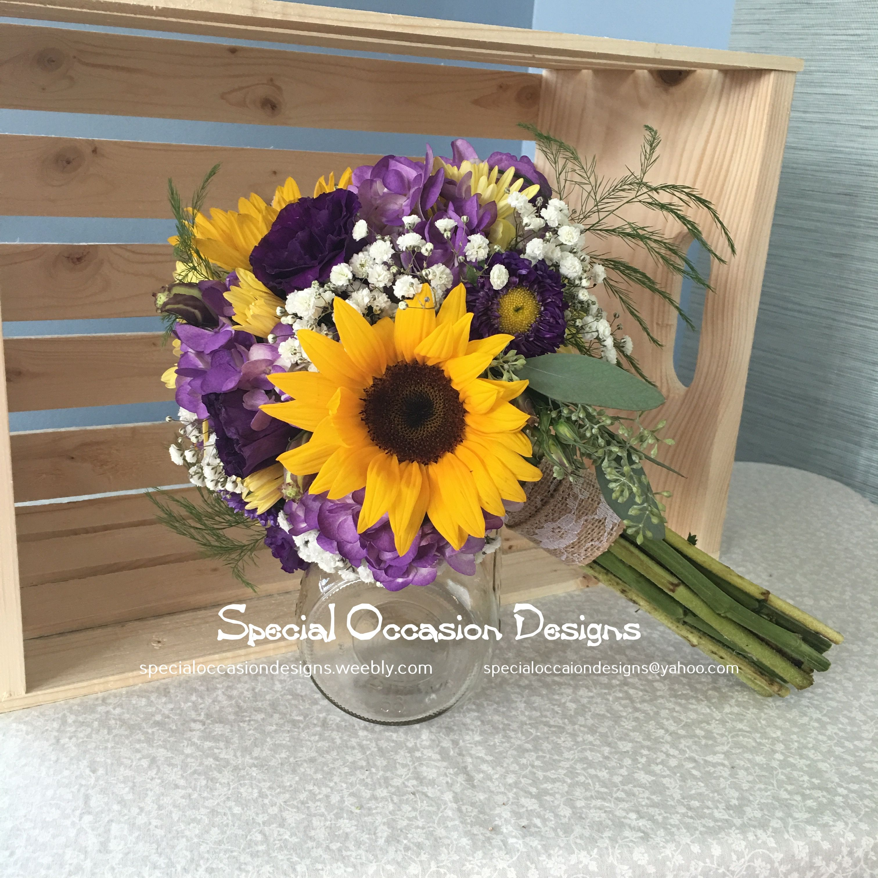 Purple and sunflower rustic bouquet sunflowers asters