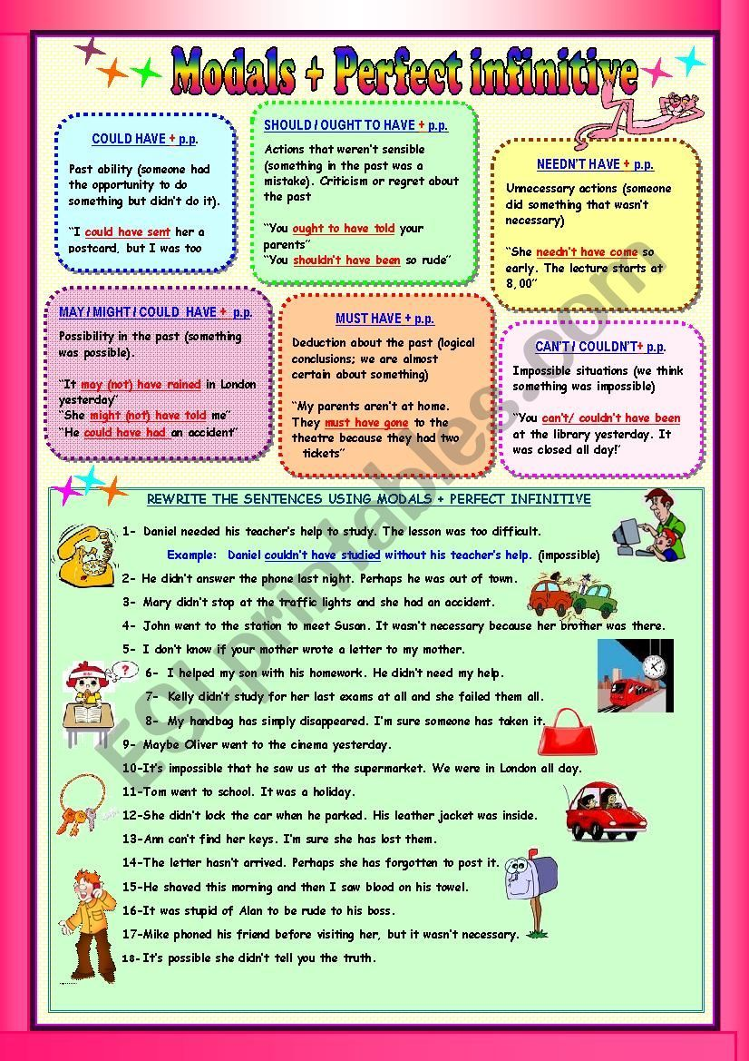 A Grammar Guide And Exercises To Practise Modals Referring To The Past Modals Have Past Participle Answer Teaching Grammar Grammar Worksheets Worksheets Participle worksheets with answers