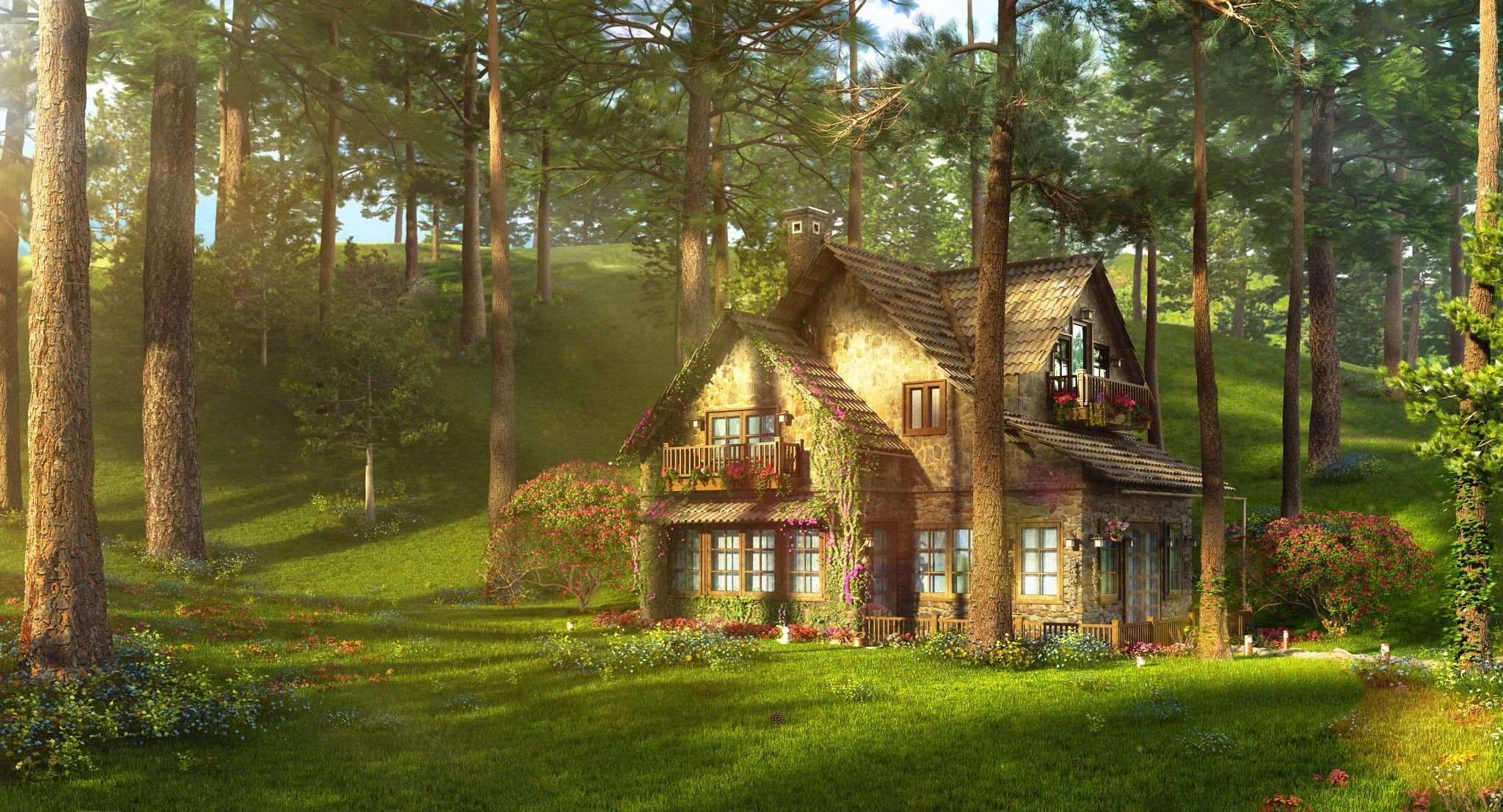 cottage, forest, meadow   Wallpapers :: meadow, sunbeams, cottage ...