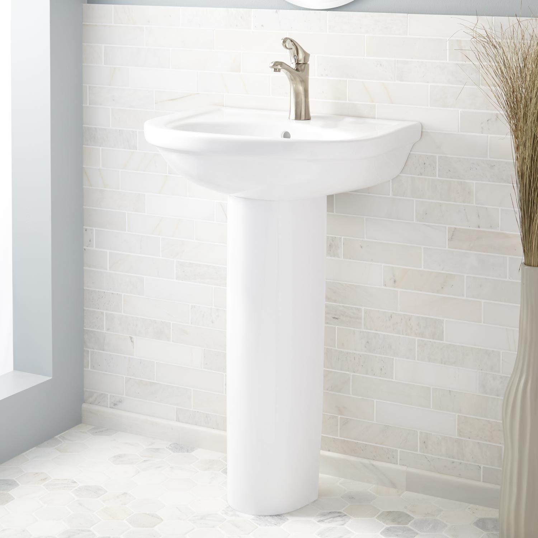 Alamilda Porcelain Pedestal Sink 4 Faucet Holes Faucets