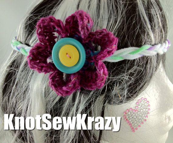 Crochet Flower Boho Hippie Headband with Buttons T by roxygal48, $8.99