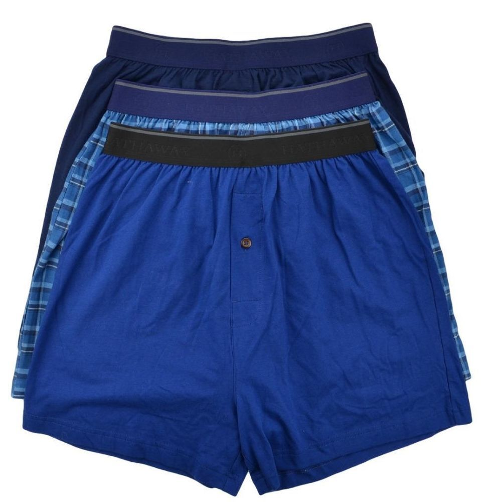 0ba26d703b68 Hathaway Mens Underwear Knit Boxers 3 Pack Blue Plaid / Blue Solids Size XL  NEW #Hathaway #Boxer