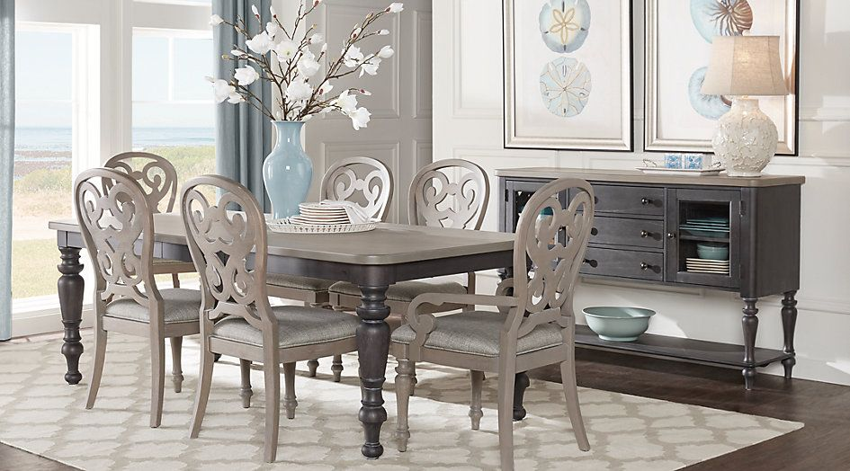 Picture Of Cindy Crawford Home Coastal Breeze Charcoal 5 Pc Fair Coastal Dining Room Tables Design Ideas