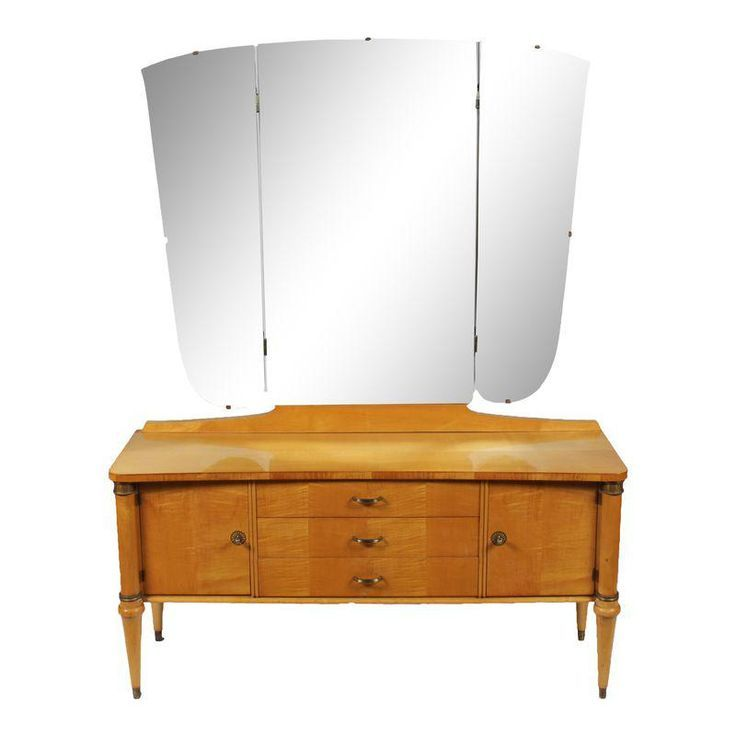 1930s Directoire Maple Dressing Table & Mirror -
