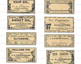 Digital Download Antique Victorian 1800 S Mini Vintage Etsy In 2020 Old Medicine Bottles Apothecary Labels Vintage Labels