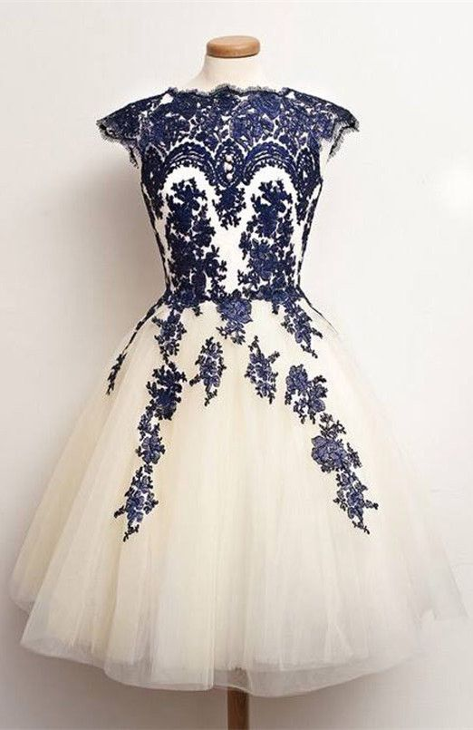 70629e0b848a 2016 homecoming dress, short homecoming dress, cream homecoming dress with  navy embroidery, party dress