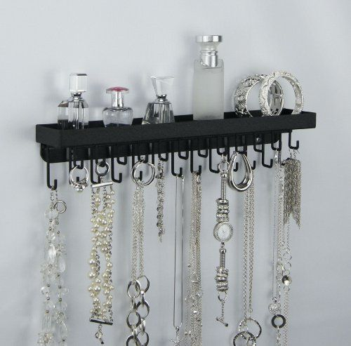 Wall Mount Necklace Holder Hanging Jewelry Organizer Closet Storage