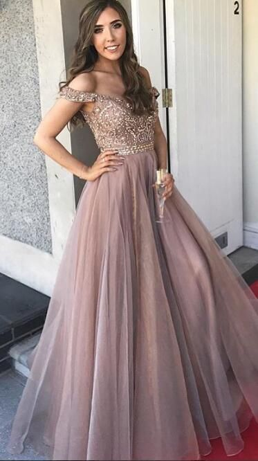 Mauvy Dusty Rose Prom Dress