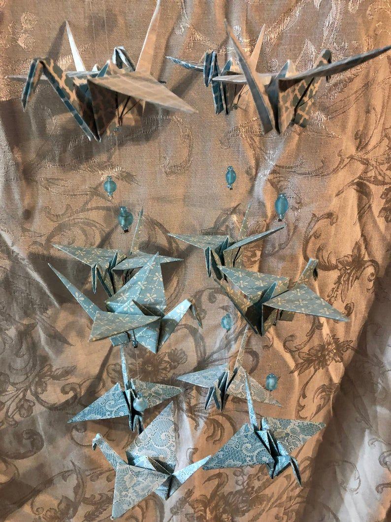 Baby Blue Origami Crane Mobile | Etsy