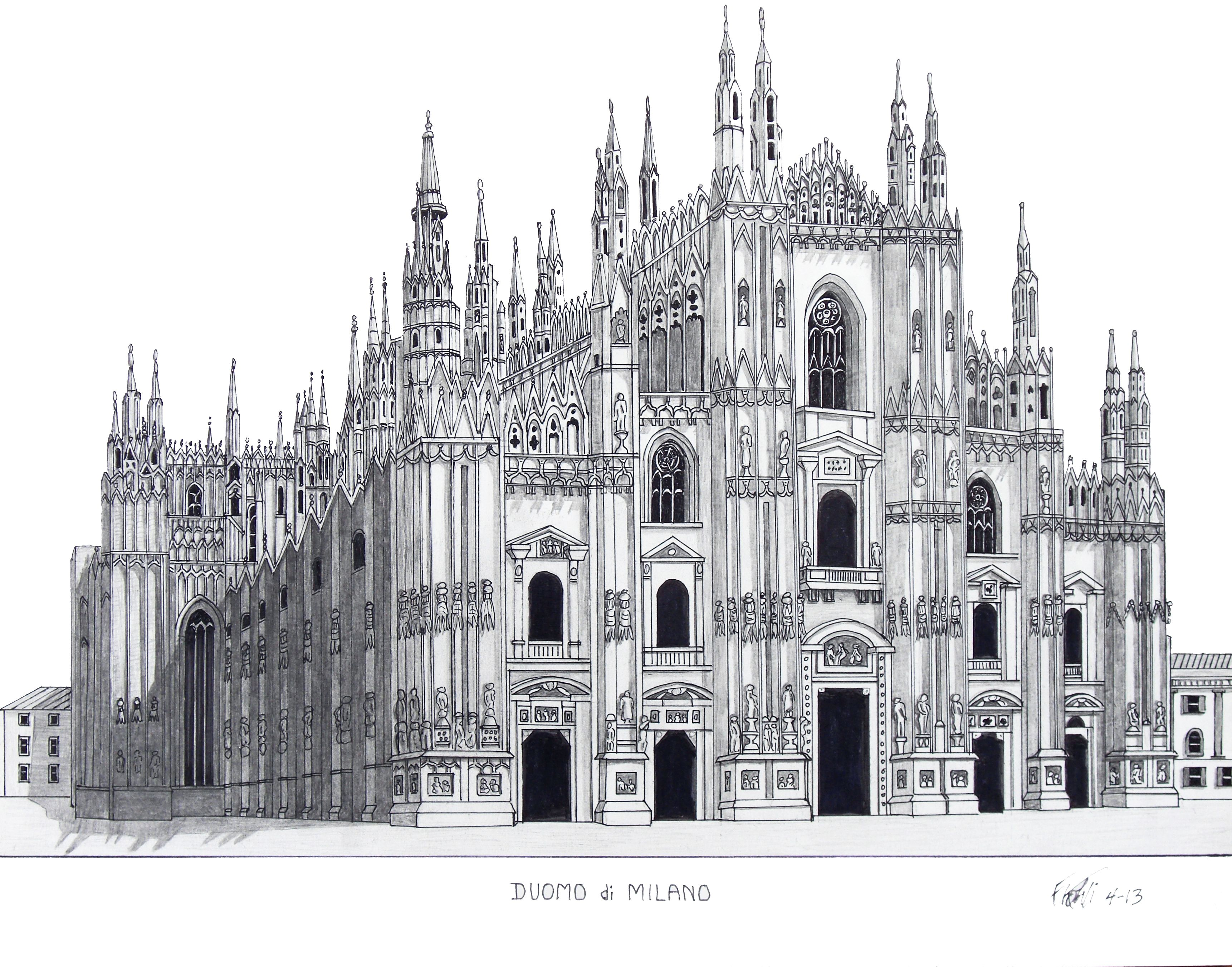 Pen And Pencil Drawing Of The Famous Duomo Di Milano Milan Italy Cathedral
