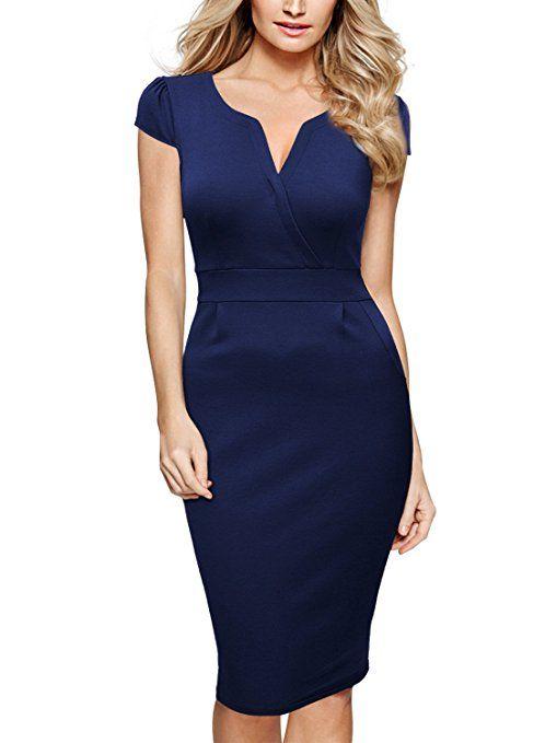 14ec923fac7f Miusol Damen V-Ausschnitt Abendkleid Kurzarm Business Etuikleid ...