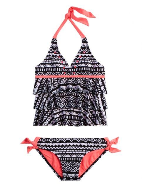 Justice Girls Floral Corded Bikini Swimsuit