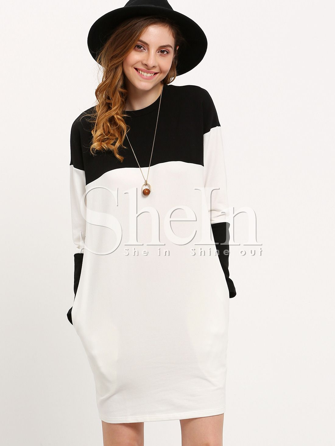 Buy it now. White Black Round Neck Color Block Dress. Black and White Casual Cotton Round Neck Three Quarter Length Sleeve Shift Short Color Block Fabric is very stretchy Fall Tshirt Dresses. , vestidoinformal, casual, camiseta, playeros, informales, túnica, estilocamiseta, camisola, vestidodealgodón, vestidosdealgodón, verano, informal, playa, playero, capa, capas, vestidobabydoll, camisole, túnica, shift, pleat, pleated, drape, t-shape, daisy, foldedshoulder, summer, loosefit, tunictop,...