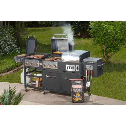 Outdoor Gourmet Pro Triton Supreme 7 Burner Propane And Charcoal Grill Griddle And Smoker Combo Charcoal Grill Grilling Portable Charcoal Grill