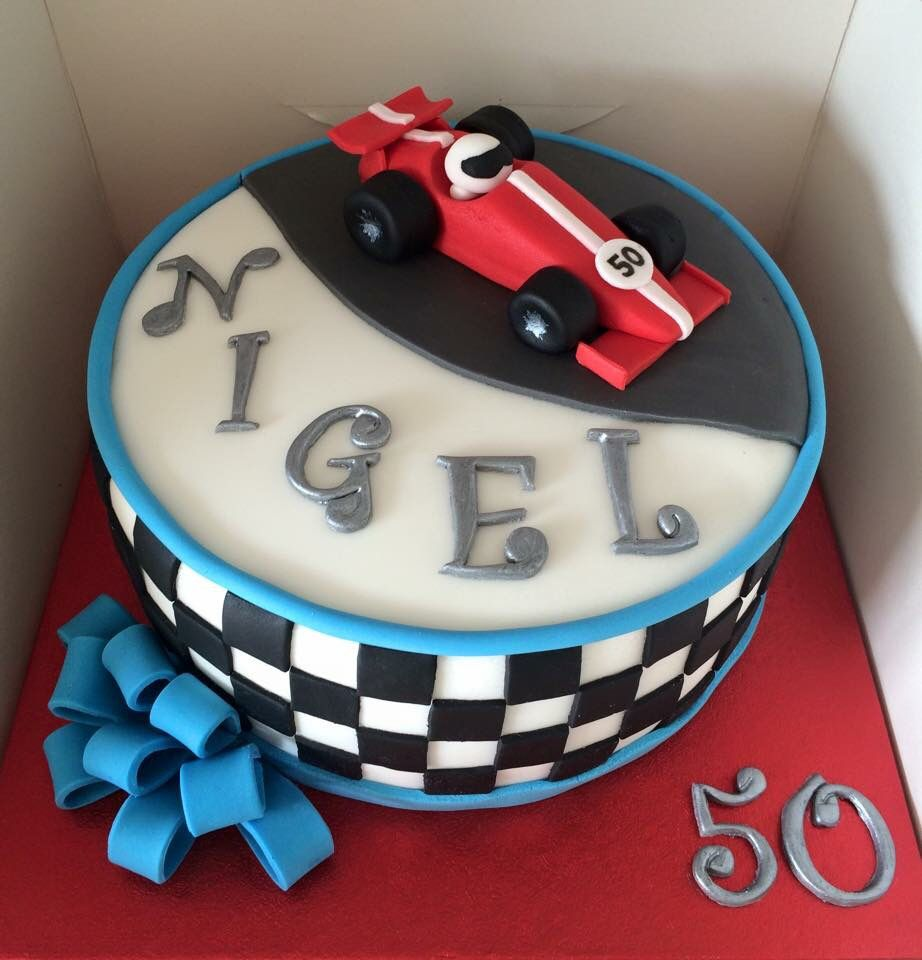 Racing car cakered 50th birthday Sugarpaste bow Hollys cakes