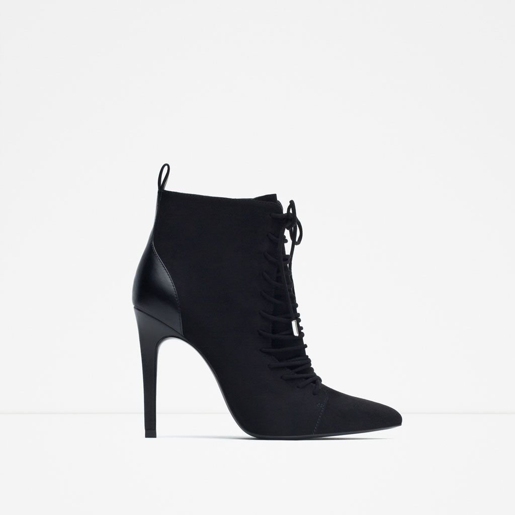 Heel With Zara Laces Woman Mujer Calzado High Ankle Boots FXFw7E4x