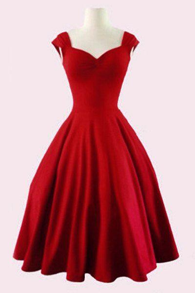 4cf70d0787 Retro Women's Sweetheart Neck Solid Color Sleeveless Dress | * Kiss ...