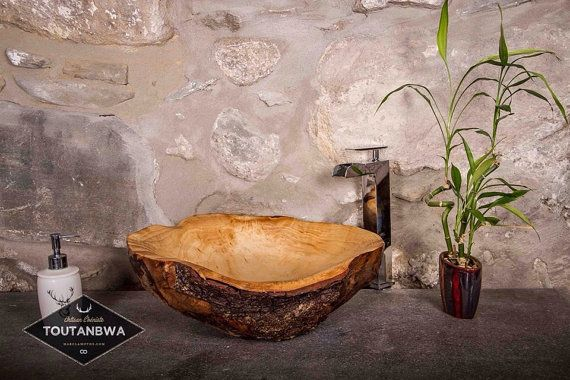 large handcarved wood sink by toutanbwa mate to order with yellow birch burl bark details. Black Bedroom Furniture Sets. Home Design Ideas