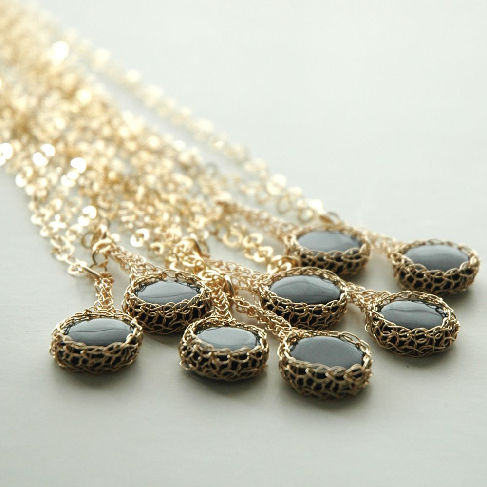 Wire crochet bridal jewelry u onyx pendant necklaces set crochet