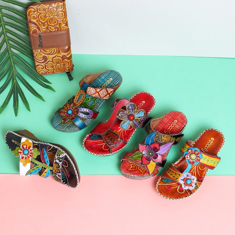 e16455a6426 High-quality SOCOFY Bohemian Leather Adjustable Hook Loop Printing Forest  Sandals - NewChic