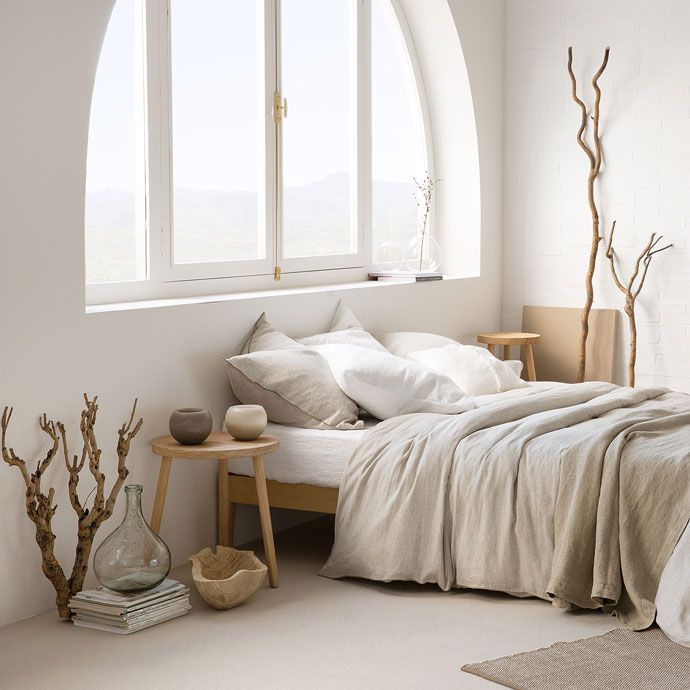 Striped linen bedding interior design pinterest for Zara home bedroom ideas