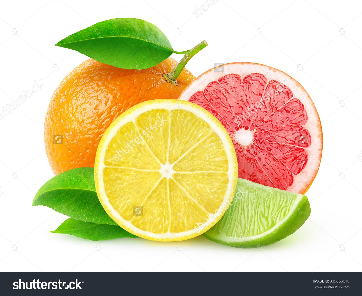 Isolated citrus fruits. Pieces of lemon, lime, pink ...