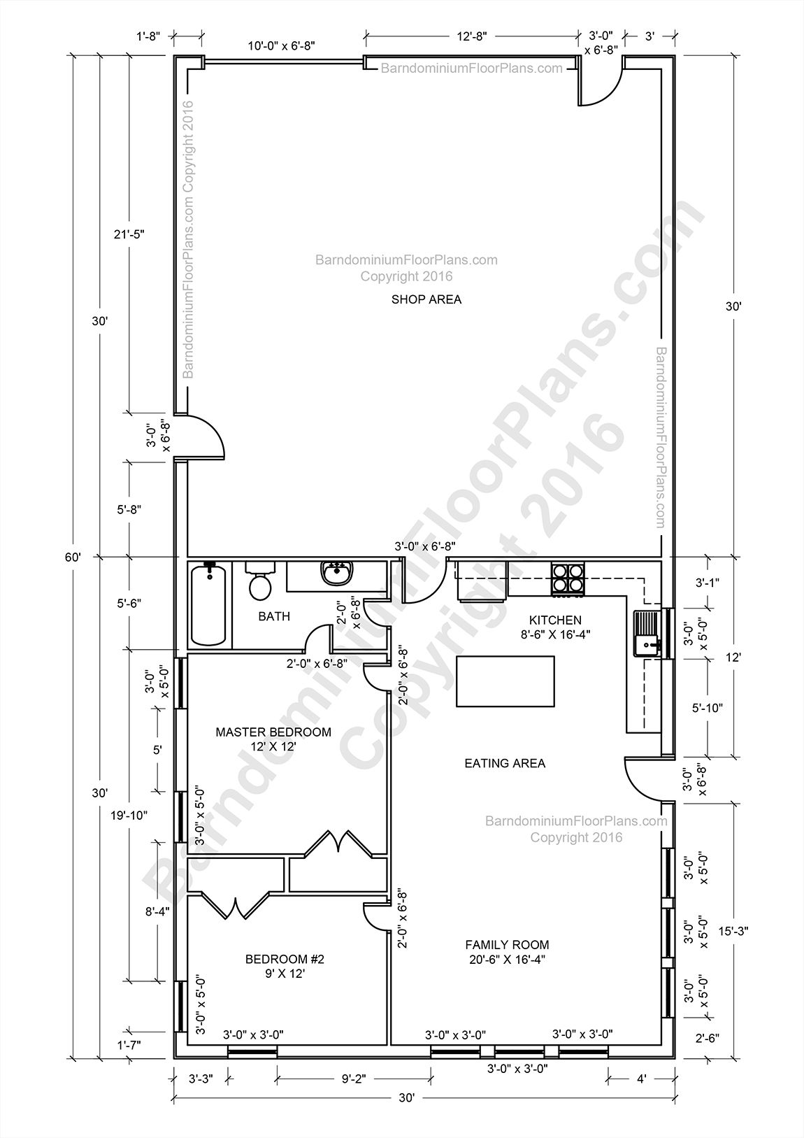Barndominium floor plans pole barn house plans and metal for Shed apartment plans