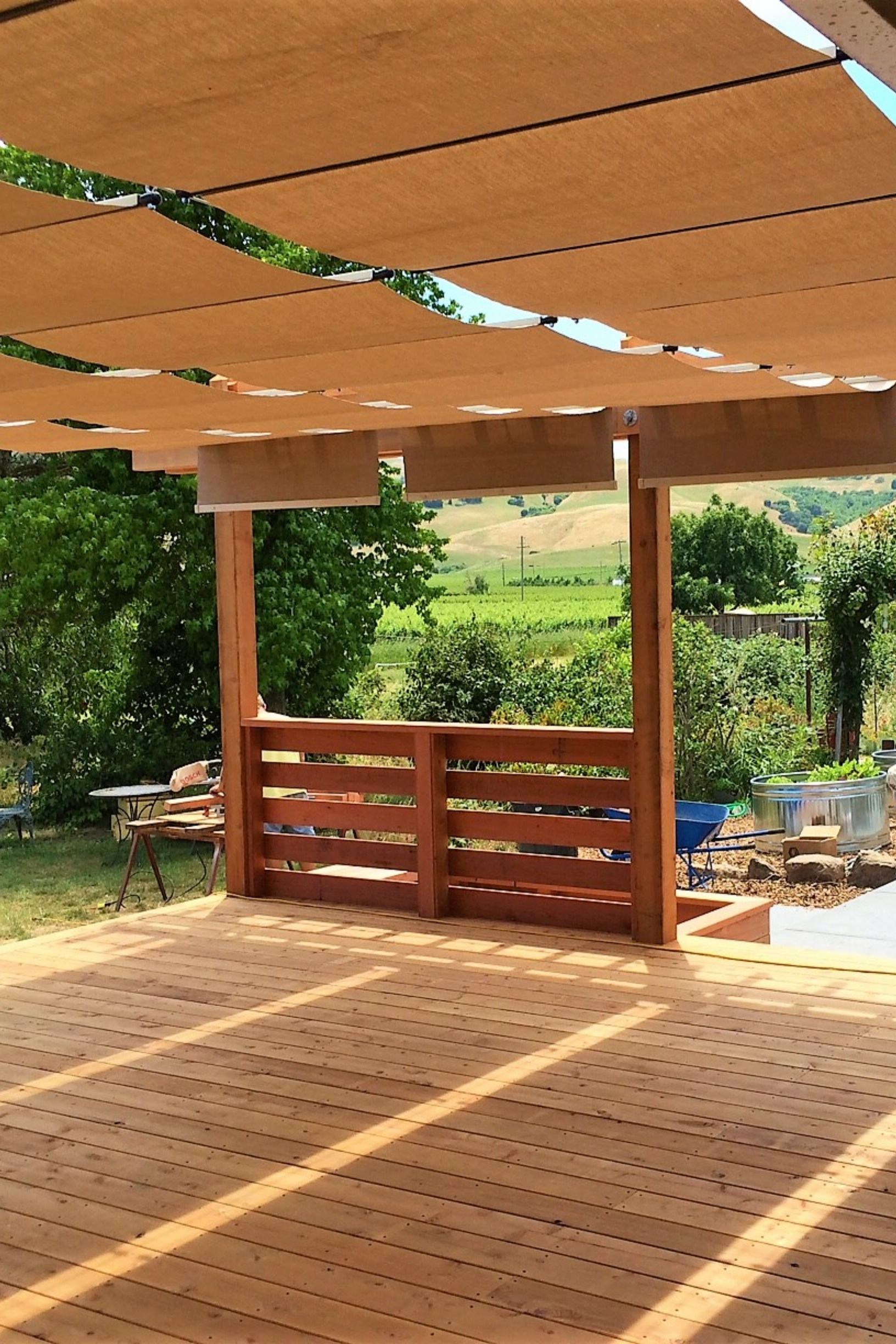 Wood Deck With Earth Tone Fabric Waterproof Shades Pergola Shade Cover Outdoor Fabric Patio Images