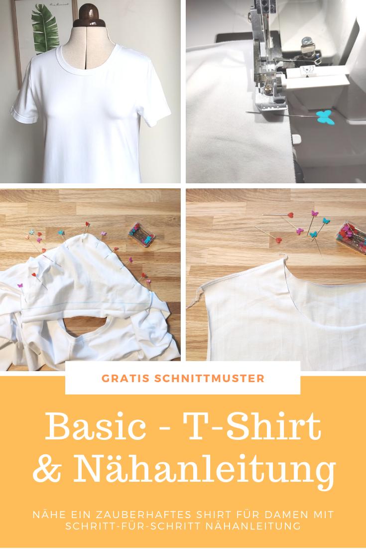 T-Shirt nähen - Nähanleitung und kostenloses Schnittmuster für Damen