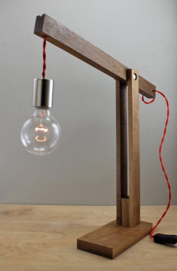The Catapult Modern Wood Arm Lamp In Walnut Por